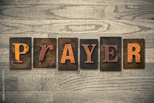 Prayer Concept Wooden Letterpress Type