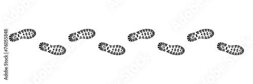 Fotografia Spur, Schuhabdruck mit Profil, Vektor, schwarz, freigestellt