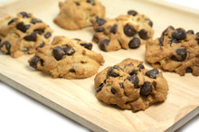 Chocolate Chip Cookies On Wood Tray