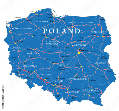 Poland map Fototapet