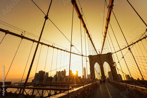 Printed kitchen splashbacks Brooklyn Bridge Brooklyn Bridge sunset with Manhattan skyline US