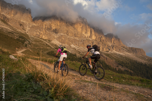 Mountain biker in South Tyrol Dolomites Poster