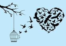 Flying Birds In Heart Shape With Bircage, Vector
