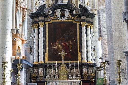 Tuinposter Imagination Interiors of Saint Nicholas' Church, Ghent, Belgium