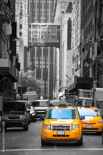 Poster New York TAXI Fift avenue neigbourhood yellow cab taxi 5 th Av