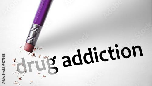 Photo  Eraser deleting the concept Drug Addiction
