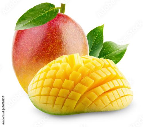 Cadres-photo bureau Fruits Mango with slices on a white background