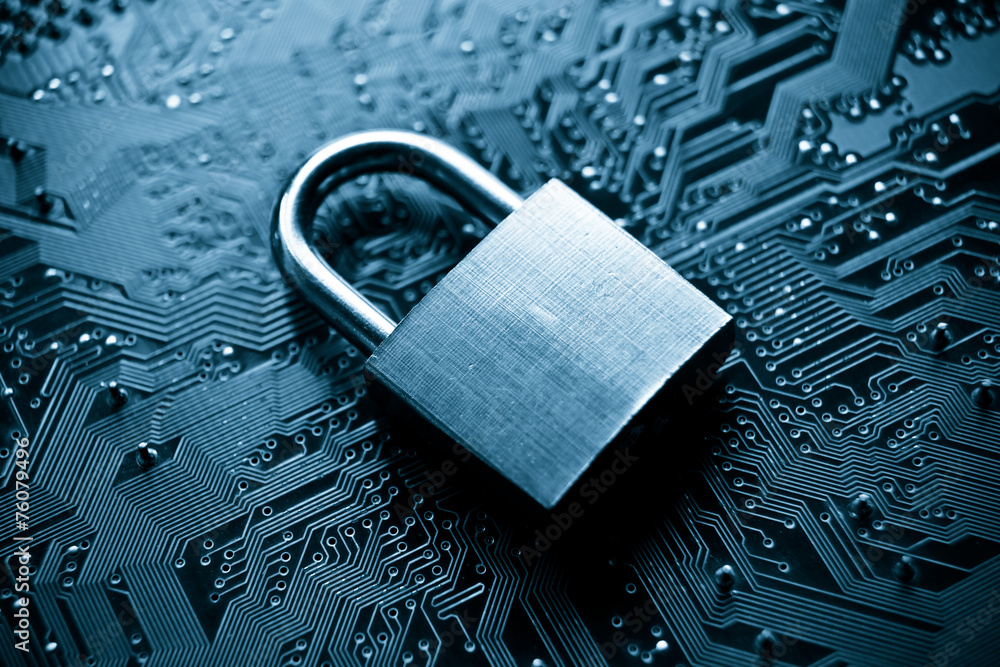 Fototapety, obrazy: security lock on computer circuit board - computer security
