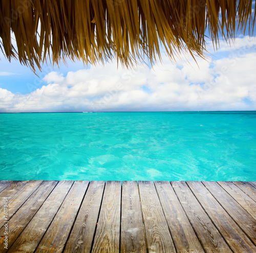 fototapeta na lodówkę Art Blue morza i błękitne niebo