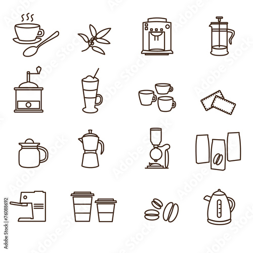 Foto outline brown simple coffee icons set eps10