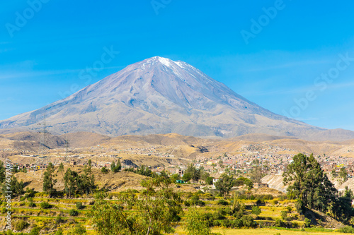 In de dag Mexico View of the Misty Volcano in Arequipa, Peru, South America
