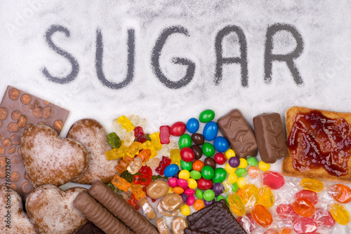 Poster Confiserie Food containing sugar