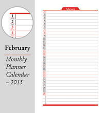 February, Montly Planner Calen...