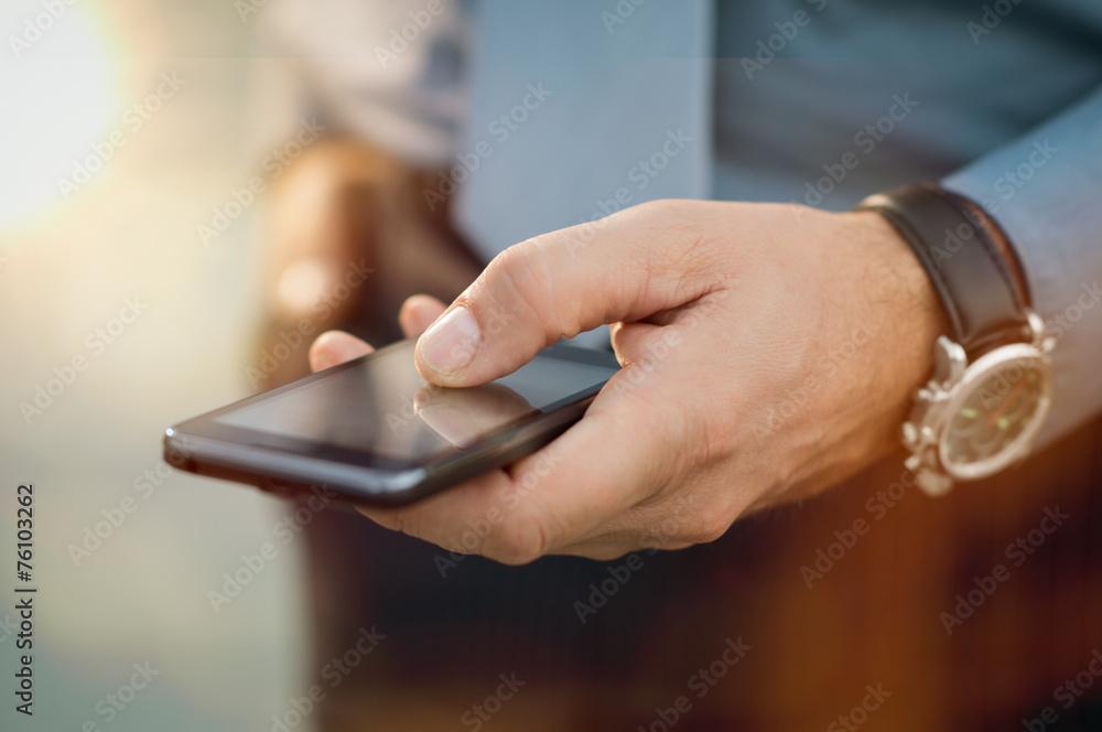 Obrazy na płótnie i fototapety na ścianę: Businessman With His Smartphone