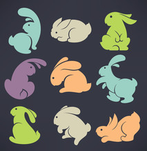 Colorful Easter Rabbits
