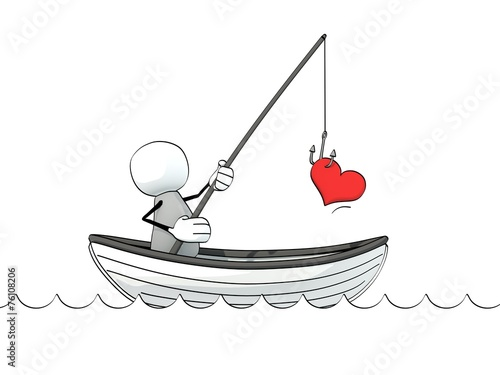 Photo little sketchy man in a rowboat fishing for love