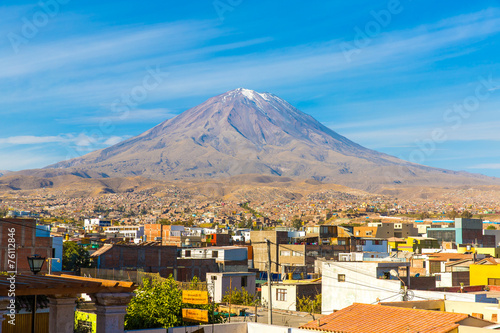 Photo View of the Misty Volcano in Arequipa, Peru, South America