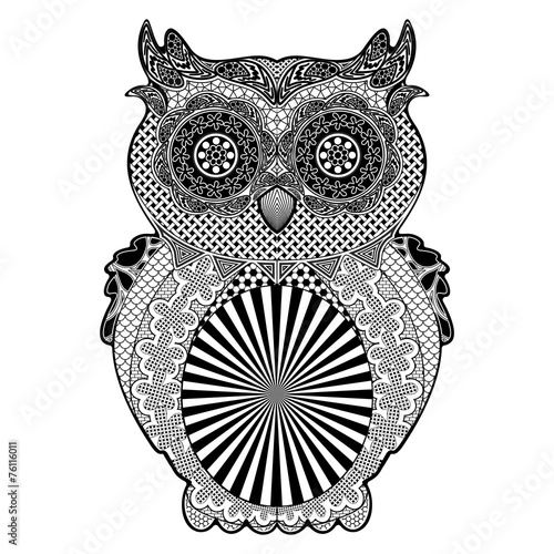 Owl Doodle Art Black and White