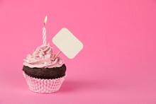 Pink Birthday Cupcake With Placard