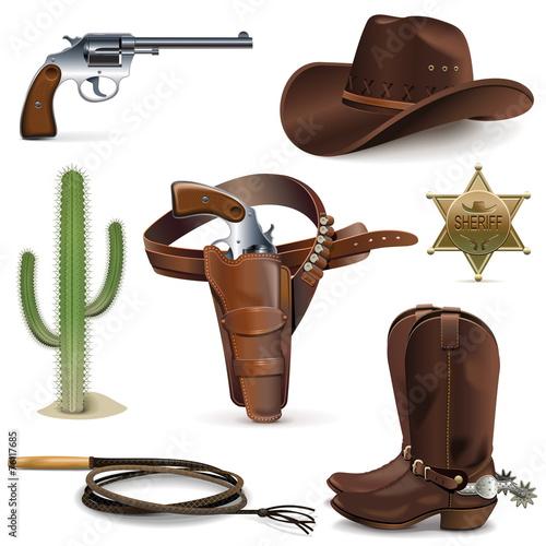 Fotografia, Obraz  Vector Cowboy Icons