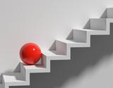 Stufen rote Kugel