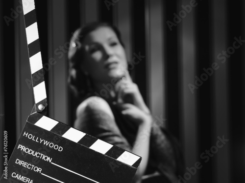 Photo  Hollywood woman and clapboard
