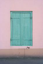 Pastel Window With Green Shutt...