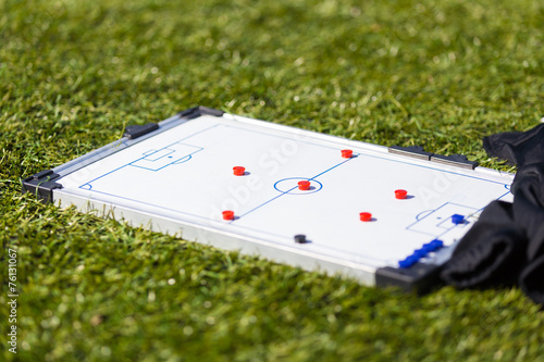 Fotografía  Soccer football strategy planning board. tactic training session