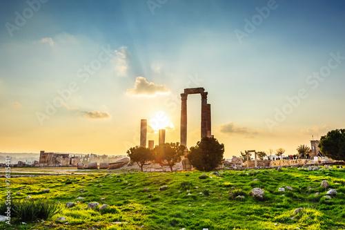Obraz na płótnie Sunset at Amman Citadel in Jordan