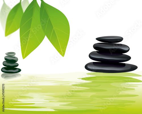 Spoed Foto op Canvas Zen spa stones with flower