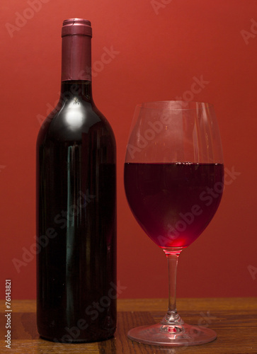Bottle of great wine and glass - 76143821