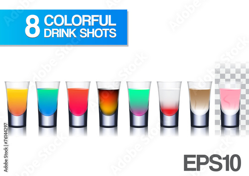 Fotografie, Obraz  realistic colorful drink shots vector