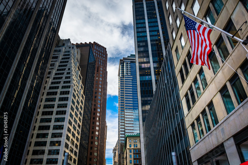 Pinturas sobre lienzo  Skyscrapers in the Financial District of Manhattan, New York.