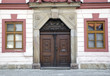 Detail of vintage townhouse in Czech with old door and windows