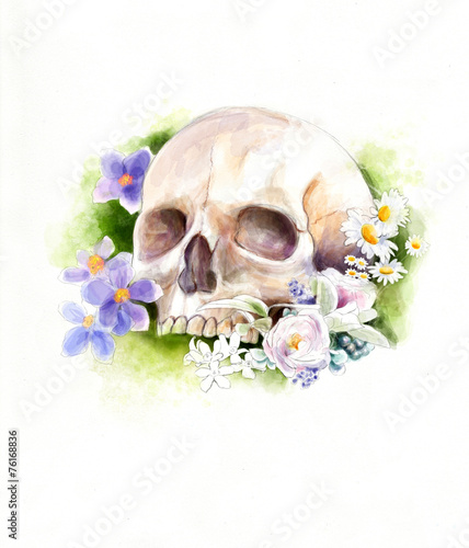 Ingelijste posters Aquarel schedel Skull and flowers