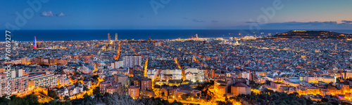 Spoed Foto op Canvas Barcelona Panorama of Barcelona at dawn
