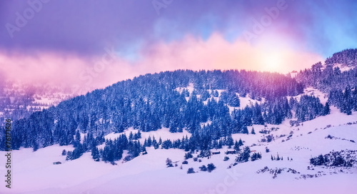 Keuken foto achterwand Purper Winter mountains landscape