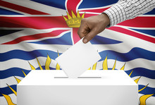 Ballot Box With Canadian Province Flag - British Columbia