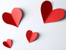 Beautiful Paper Hearts On White Paper Background, Close-up