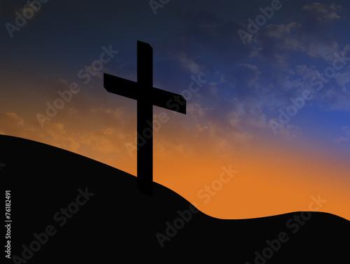 Cross Silhouette With Sunrise Christian Symbol Of Resurrection Buy