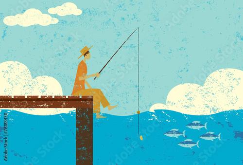 Fotografie, Obraz  Fishing on a dock