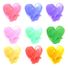 Watercolor Hand Painted Hearts. With Stroke Brush Texture