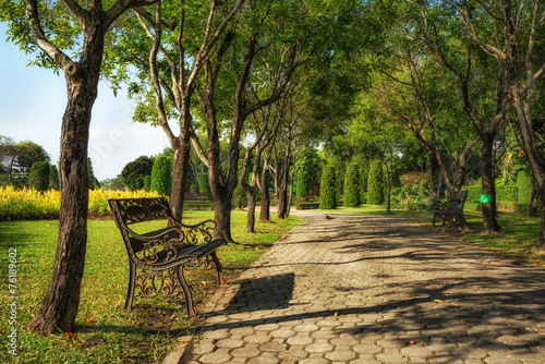 Bench under the tree in Suan Luang Rama 9 park Poster