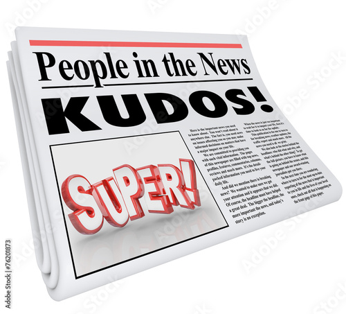 People in News Announcement Super Newspaper Message Praise Canvas Print