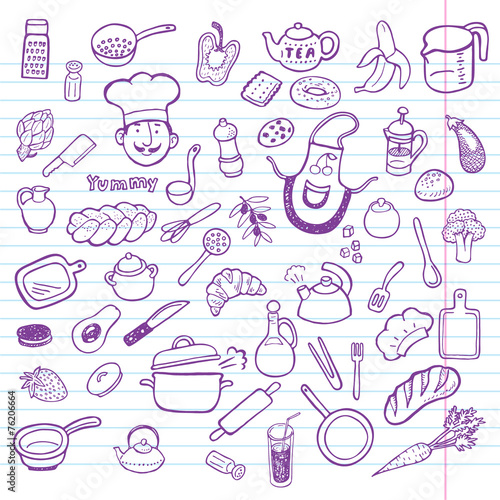 Hand drawn cooking and kitchen set