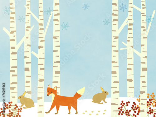 Photo sur Toile Bleu clair Winter Birch forest background – with animals