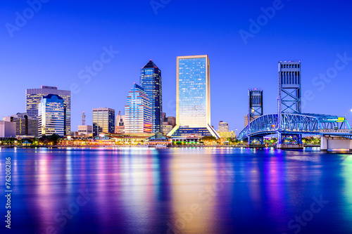 Photo sur Toile Bleu fonce Jacksonville, Florida, USA Skyline on St. Johns River