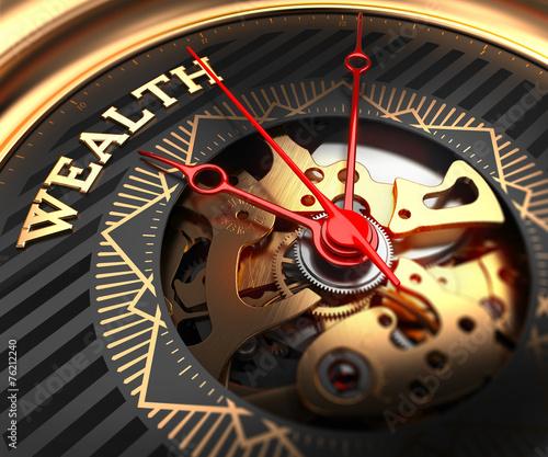 Fotografía  Wealth on Black-Golden Watch Face.