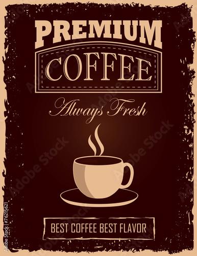 fototapeta na lodówkę Vintage plakat kawy