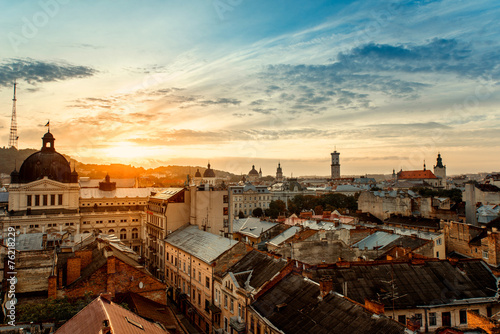 Canvas Prints Eastern Europe Lviv city sunrise